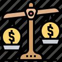 balance, cost, money, scale, value icon