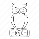 decision, invest, owl, smart, wise icon
