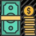 cash, fintech, money, coins, stack