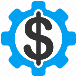 bank software, banking business, dollar, finance, financial industry, gear, money icon