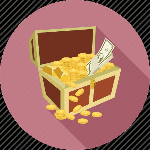 chest, money chest, savings, treasure icon