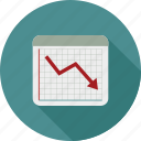 decline chart, line chart, stock decrease, stock loss icon