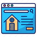 online, real estate, buy house, rent house icon