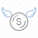business, coin, dollar, fly, raise, wings icon