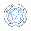 analysis, chart, earth, global, graph, report icon