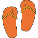 beach sandal, flip flops, foot wear, holidays, tourism, travel, vacation icon