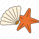 beach, holidays, shell, starfish, tourism, travel, vacation icon