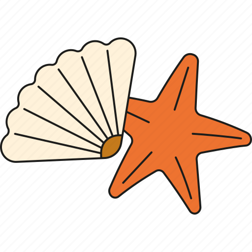 beach, holidays, shell, starfish, tourism, travel, vacation icon