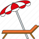 deckchair, holidays, parasol, sunbed, tourism, travel, vacation icon