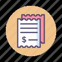 bill, bills, invoice, payment, receipt, tax icon