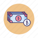 banknotes, bitcoin, bitcoin cash, cash, cryptocurrency, payment icon