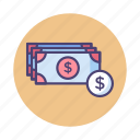 banknotes, cash, dollar, payment, usd icon