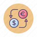 currency, currency exchange, dollar, eur to usd, euro, exchange, usd to eur icon