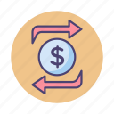 funds, funds exchange, funds transfer, transfer icon