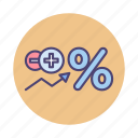interest, interest rates, percent, percentage, rates icon