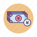 banknotes, cash, japanese yen, payment, yen icon