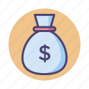 cash, coins, money, money bag icon