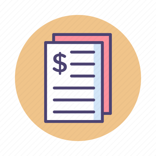 Bill, invoice, purchase order, receipt, tax icon