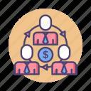 economy, income distribution, profit sharing, sharing, sharing economy icon