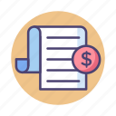 bill, receipt, tax, taxes icon