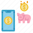 and, banking, business, finance, fintech, online, pig icon