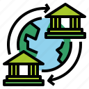 business, finance, banking, bank, global, transfer icon