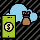 cloud, finance, fintech, funding, global icon