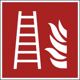 escape, fire, iso, ladder, place, secure, way icon