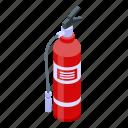 cartoon, extinguisher, fire, isometric, logo, prevention, water