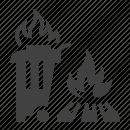 burning, fire, garbage icon