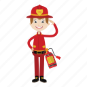 boy, cartoon, firefighter icon