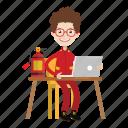 boy, cartoon, firefighter, kid, laptop icon