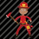 axe, boy, cartoon, firefighter, kid icon