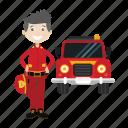 boy, cartoon, firefighter, kid, truck icon