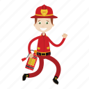 boy, extinguish fire, firefighter, kid