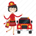 extinguish fire, firefighter, girl, truck icon