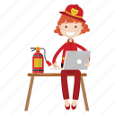 firefighter, girl, laptop, working icon