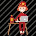 firefighter, girl, laptop, working