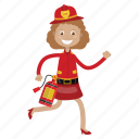 extinguish fire, firefighter, girl icon