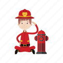 extinguish fire, faucet, firefighter, rescue icon