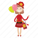 balloon, firefighter, girl, rescue icon