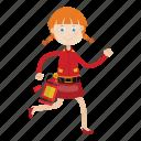 firefighter, girl, rescue, running