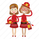 extinguish fire, firefighter, girls, rescue icon