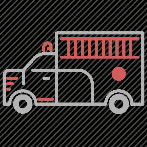 equipment, fire, fireman, transportation, truck icon