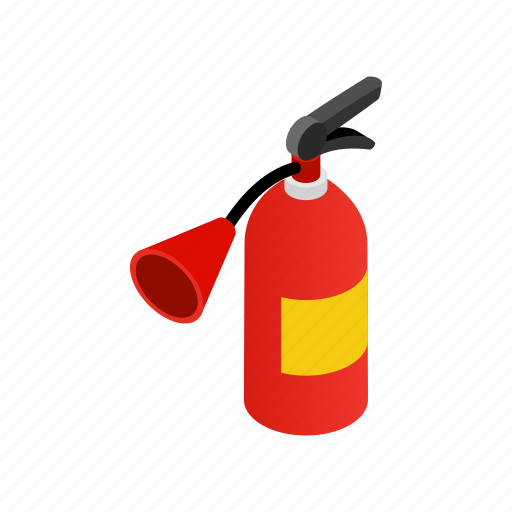 danger, emergency, equipment, extinguisher, fire, isometric, protection icon