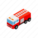 car, emergency, engine, fire, isometric, red, truck icon