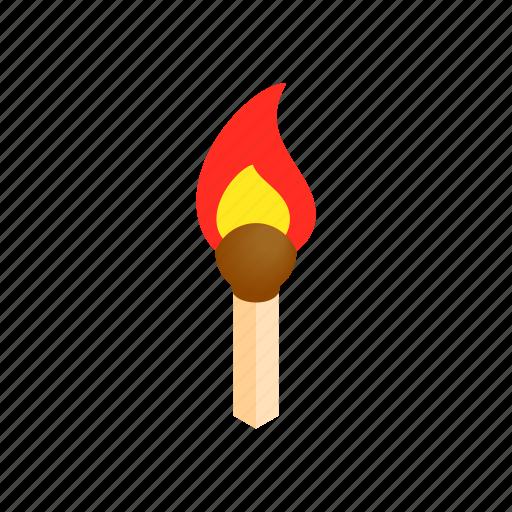 burn, fire, flame, heat, hot, isometric, match icon