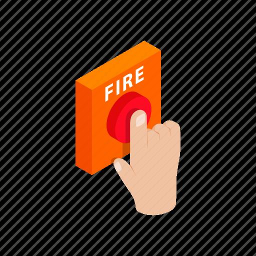 alarm, call, danger, evacuation, fire, industrial, isometric icon