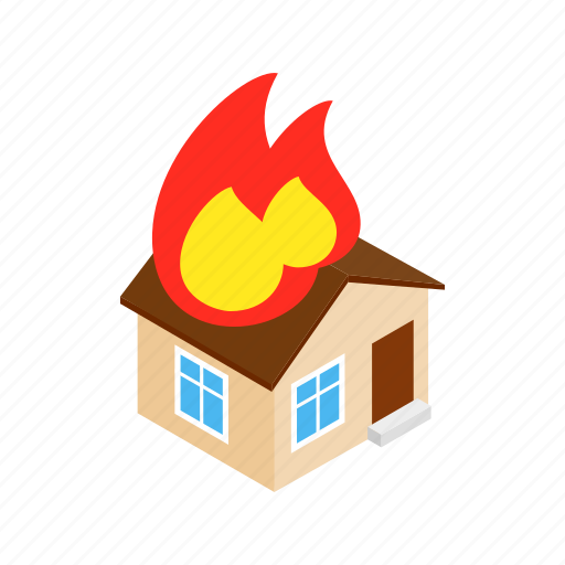danger, disaster, fire, flame, house, insurance, isometric icon