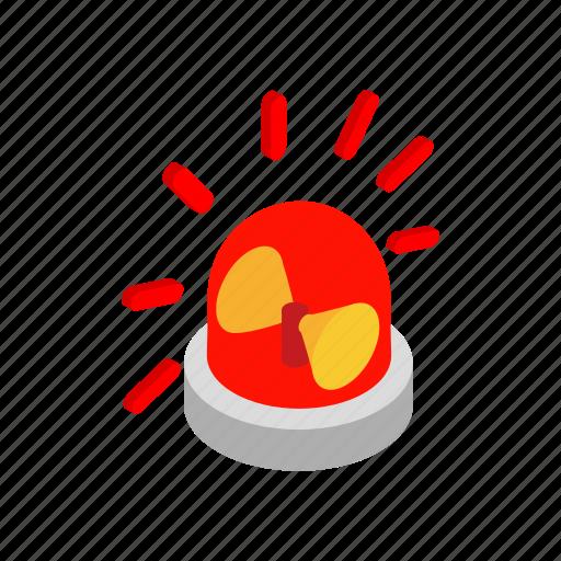 beacon, bulb, danger, isometric, red, siren, urgency icon